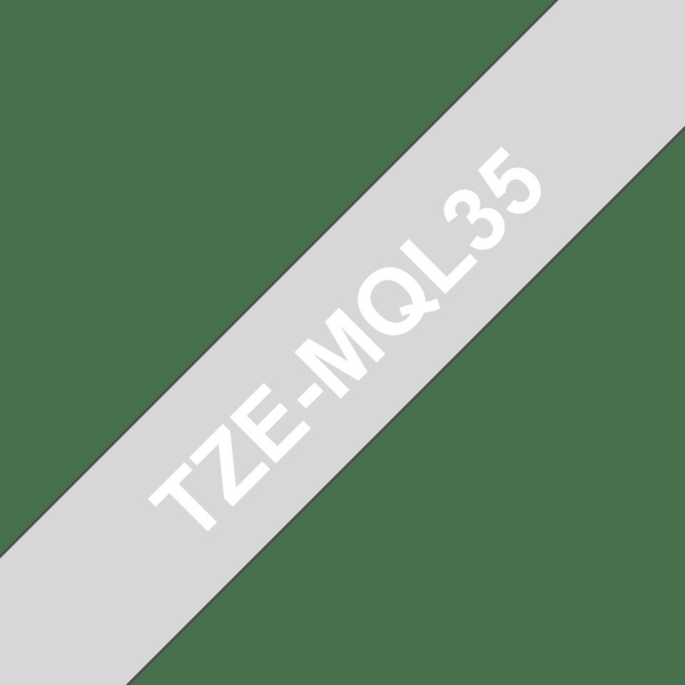 Original TZe-MQL35 Schriftbandkassette von Brother – Weiß auf Grau, 12mm breit 3