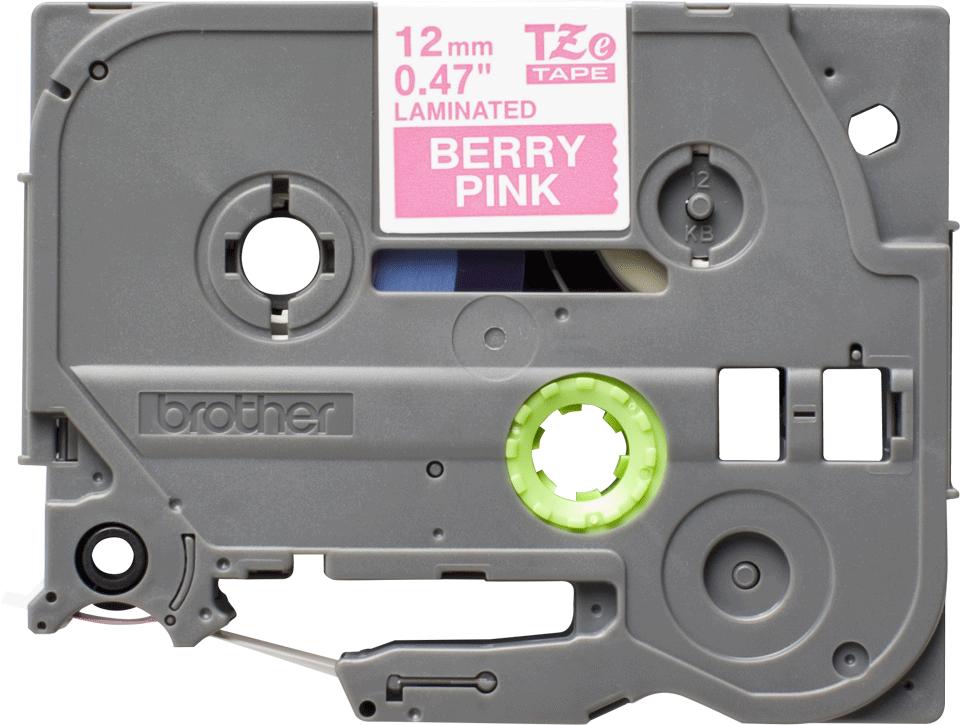 Cassette à ruban pour étiqueteuse TZe-MQP35 Brother originale – Blanc sur rose fuchsia, 12mm de large