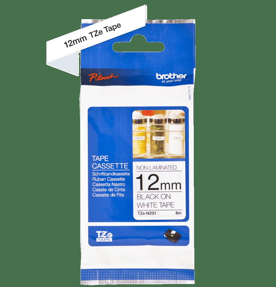 Original TZe-N231 Schriftbandkassette von Brother – Schwarz auf Weiß, 12mm breit 2