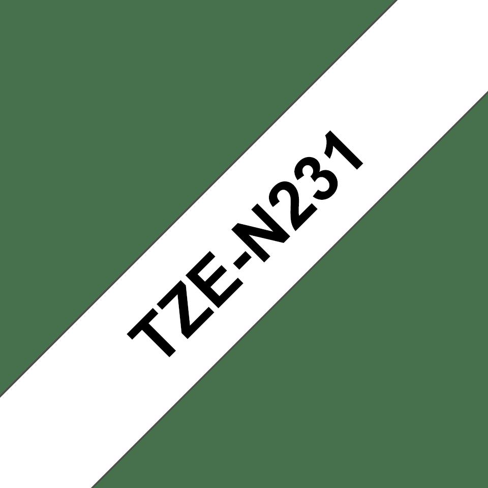 Original TZe-N231 Schriftbandkassette von Brother – Schwarz auf Weiß, 12mm breit 3
