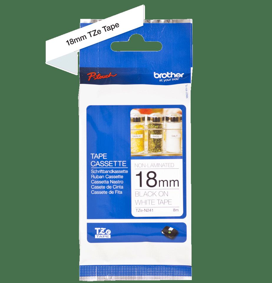 Original TZe-N241 Schriftbandkassette von Brother – Schwarz auf Weiß, 18mm breit 2