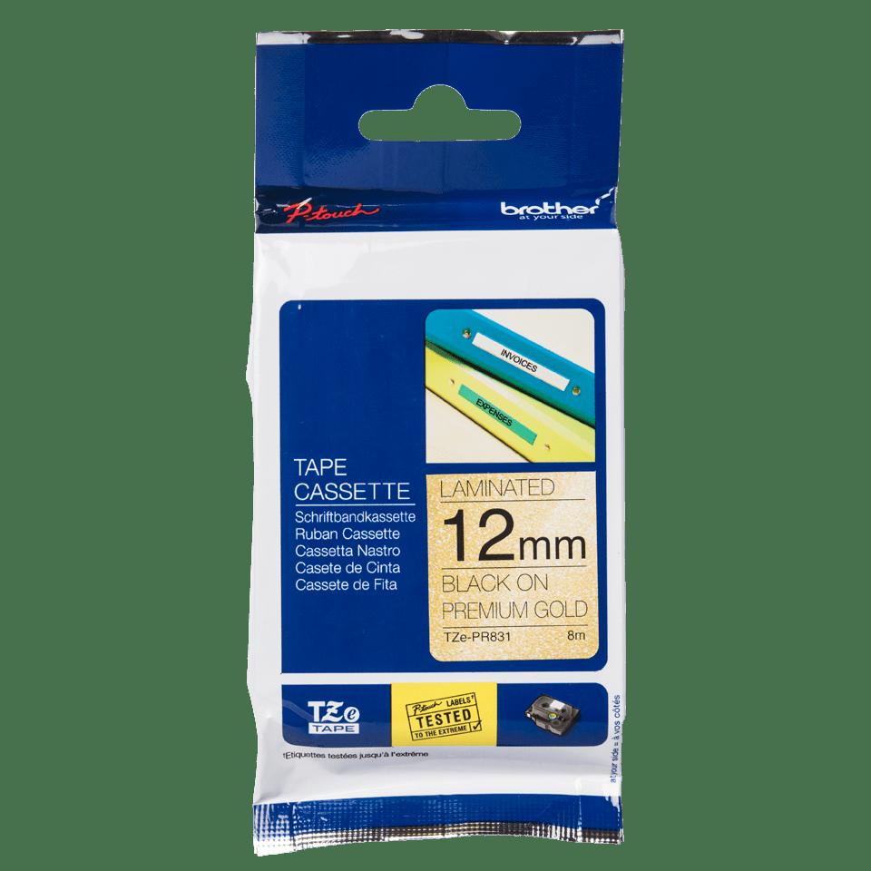 Original Brother TZe-PR831 Schriftbandkassette – Schwarz auf Premiumgold, 12 mm breit 2
