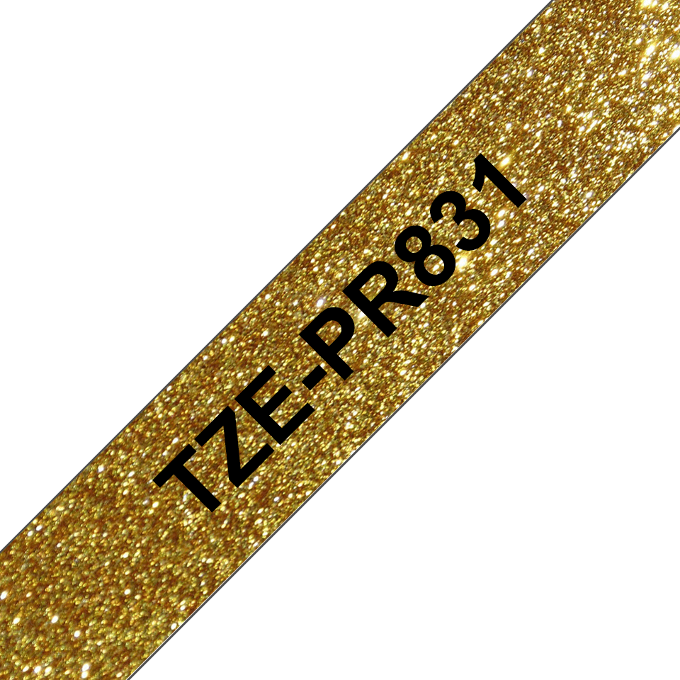 Original Brother TZe-PR831 Schriftbandkassette – Schwarz auf Premiumgold, 12 mm breit