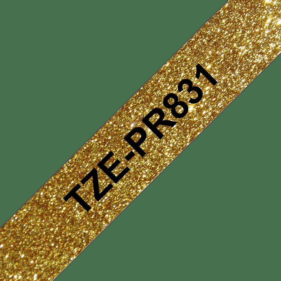 Original Brother TZe-PR831 Schriftbandkassette – Schwarz auf Premiumgold, 12 mm breit 3