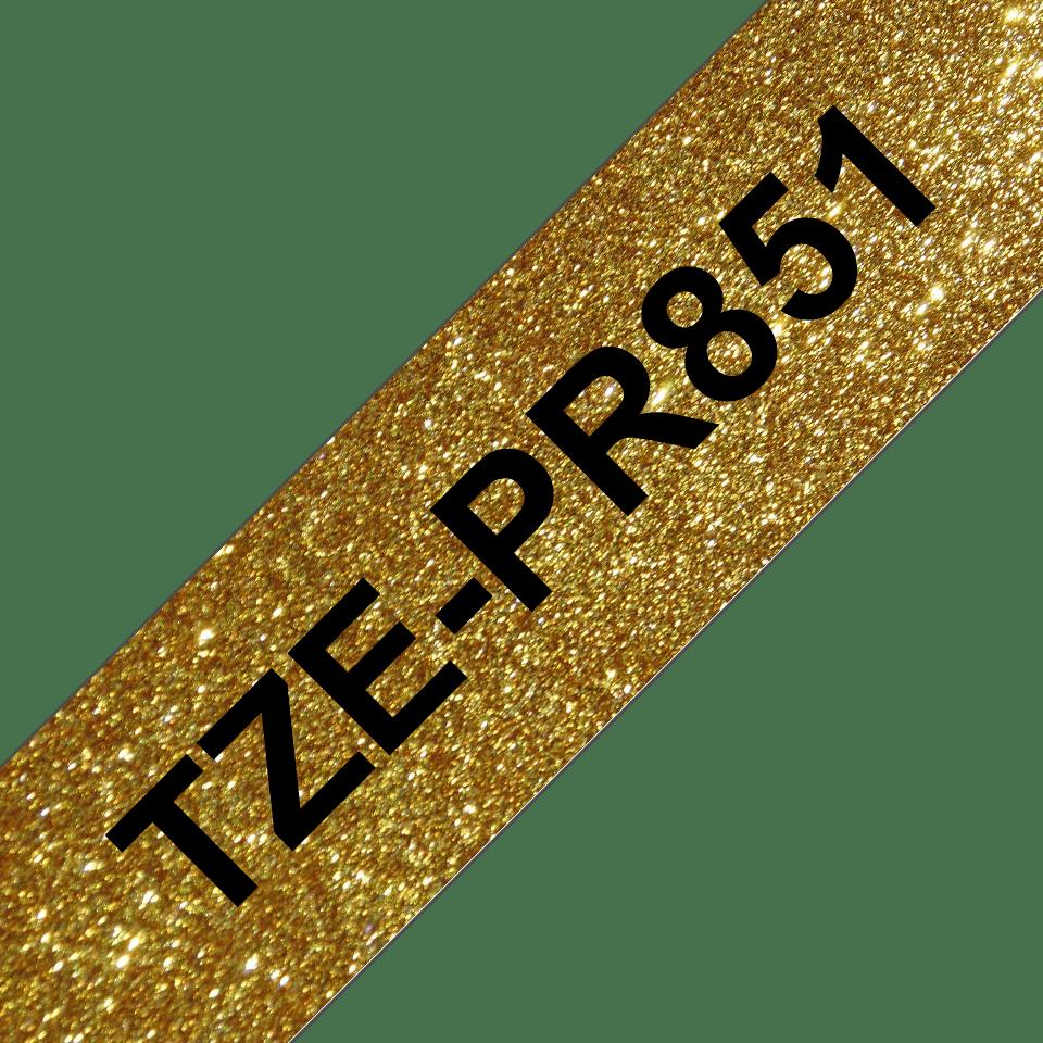 Original Brother TZe-PR851 Schriftbandkassette – Schwarz auf Premiumgold, 24 mm breit 3