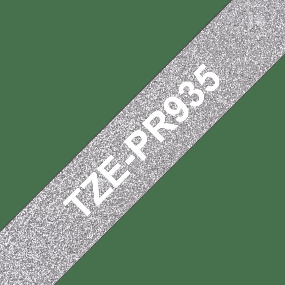 Original Brother TZe-PR935 Schriftbandkassette – Weiss auf Premiumsilber, 12 mm breit 3
