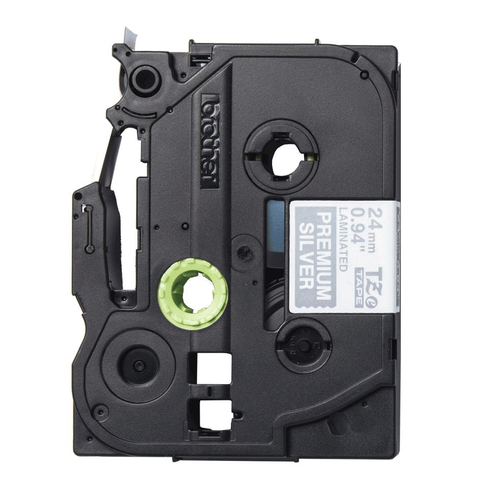 Original Brother TZe-PR955 Schriftbandkassette – Weiss auf Premiumsilber, 24 mm breit