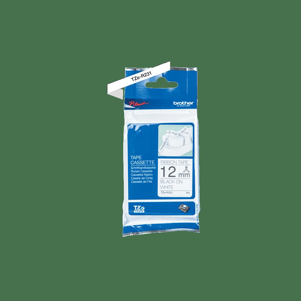 Original TZe-R231 Textilbandkassette von Brother – Schwarz auf Weiß, 12mm breit 2