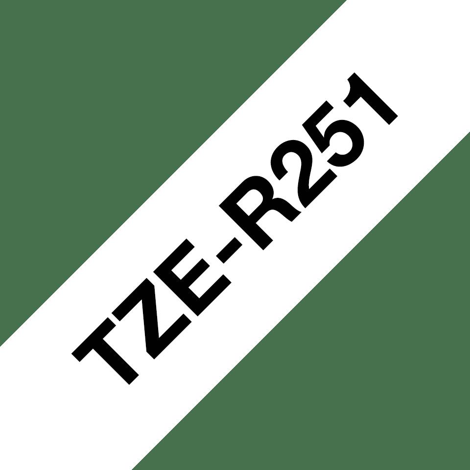 Original Brother TZe-R251 P-touch Textilbandkassette – Schwarz auf Weiss, 24 mm breit