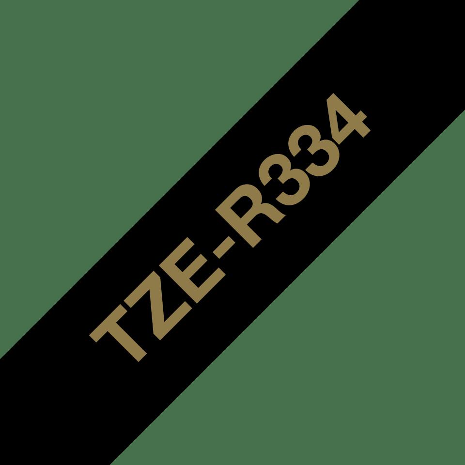 Cassette à ruban P-touch TZe-R334 Brother originale, or sur noir, 12 mm de large