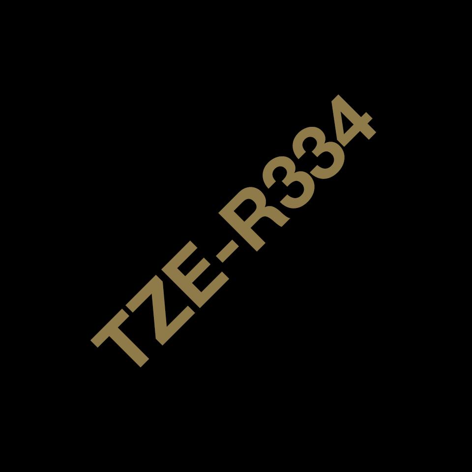 Original Brother TZe-R334 Textilbandkassette – Gold auf Schwarz, 12 mm breit