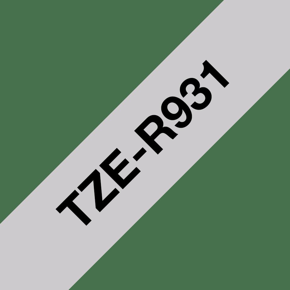 Original Brother TZe-R931 Textilbandkassette – Schwarz auf Silber, 12 mm breit