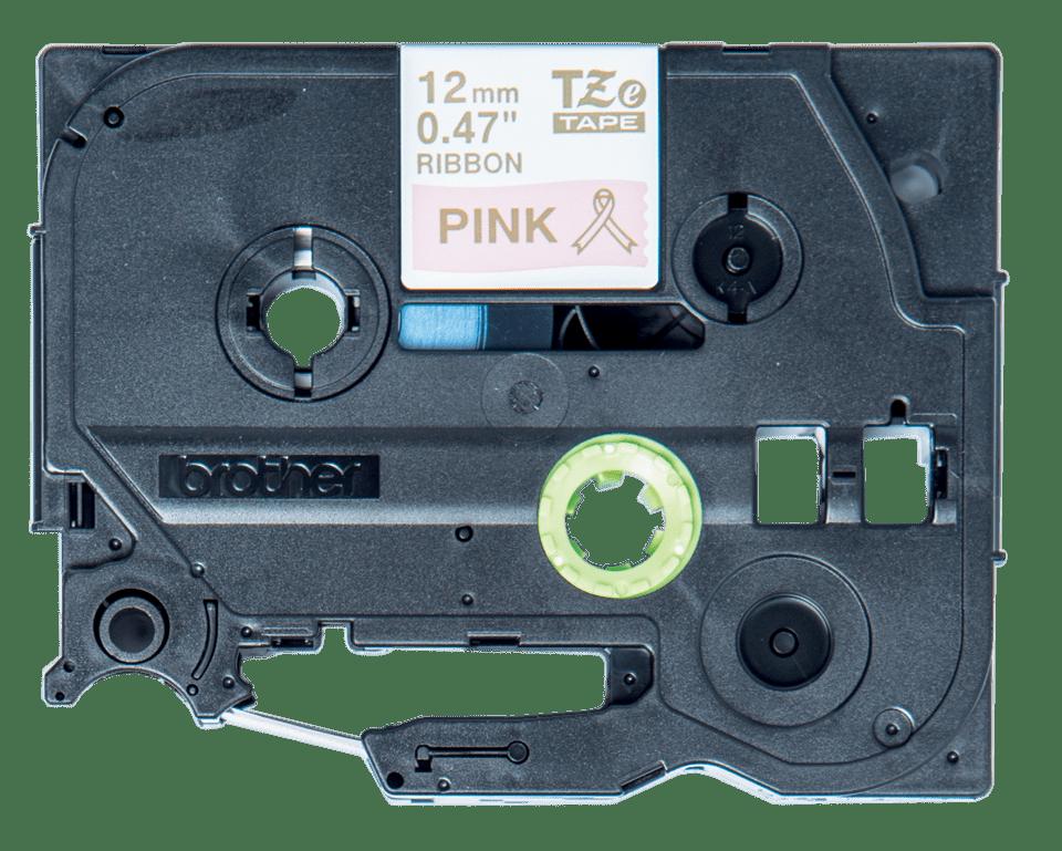 Cassette à ruban tissu TZe-RE34 Brother originale – Or sur rose, 12mm de large