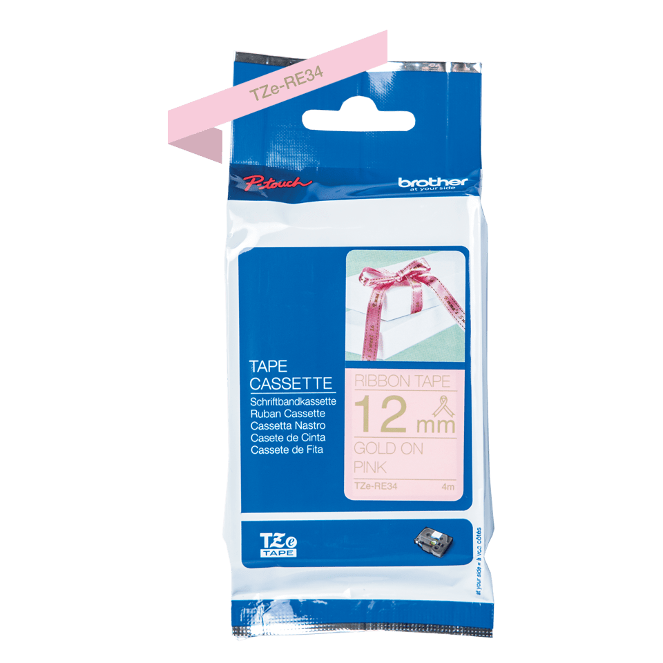 Original TZe-RE34 Textilbandkassette von Brother – Gold auf Rosa, 12mm breit 2