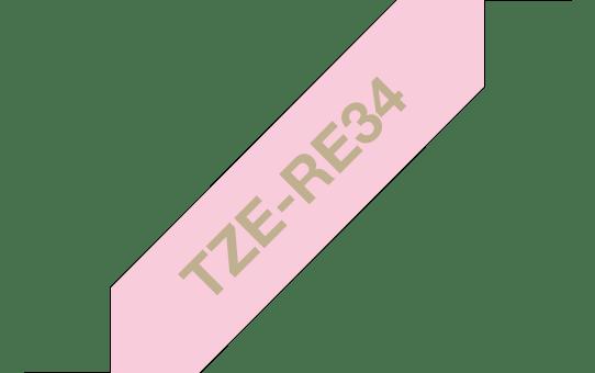 Cassette à ruban tissu TZe-RE34 Brother originale – Or sur rose, 12mm de large 3