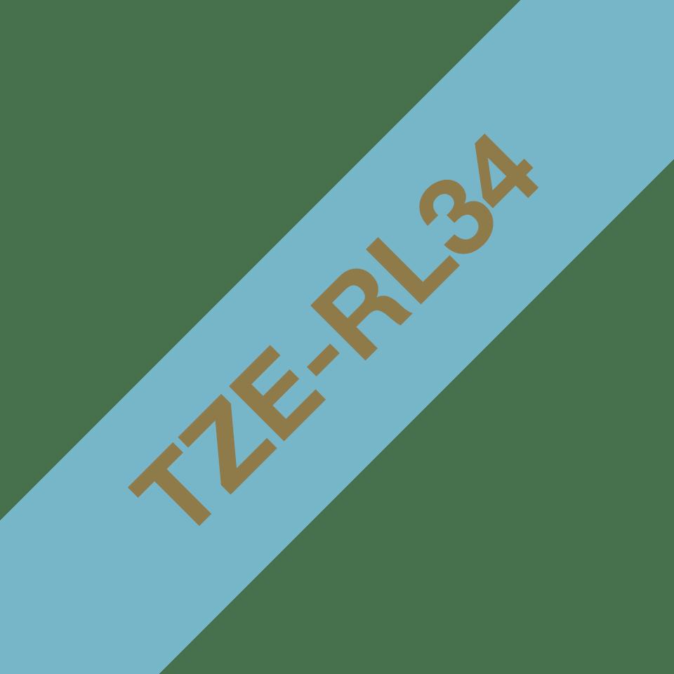 Cassette à ruban TZe-RL34 Brother originale, or sur bleu clair, 12 mm de large