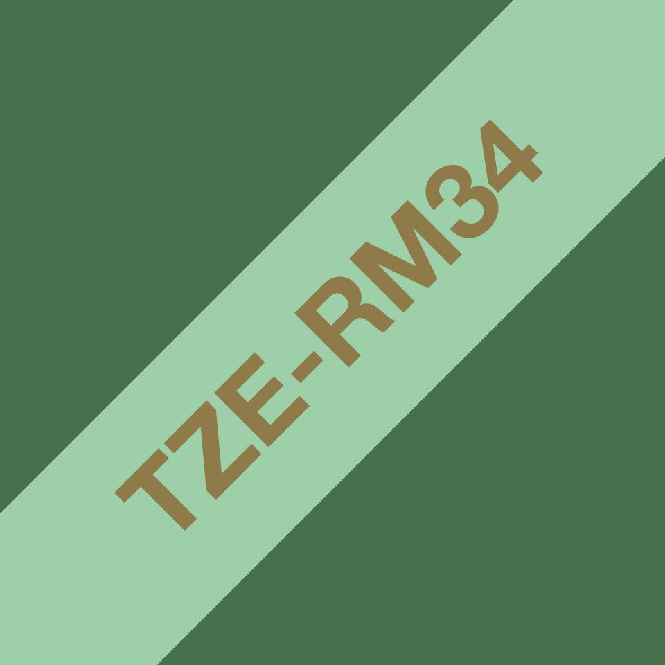 Original Brother TZe-RM34 Textilbandkassette in Gold auf Mintgrün, 12 mm breit
