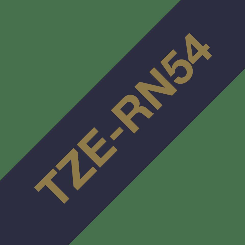 Original Brother TZe-RN54 Textilschriftband – Gold auf Marineblau, 24 mm breit