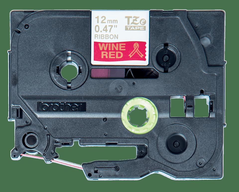 Original TZe-RW34 Textilbandkassette von Brother – Gold auf Weinrot, 12mm breit