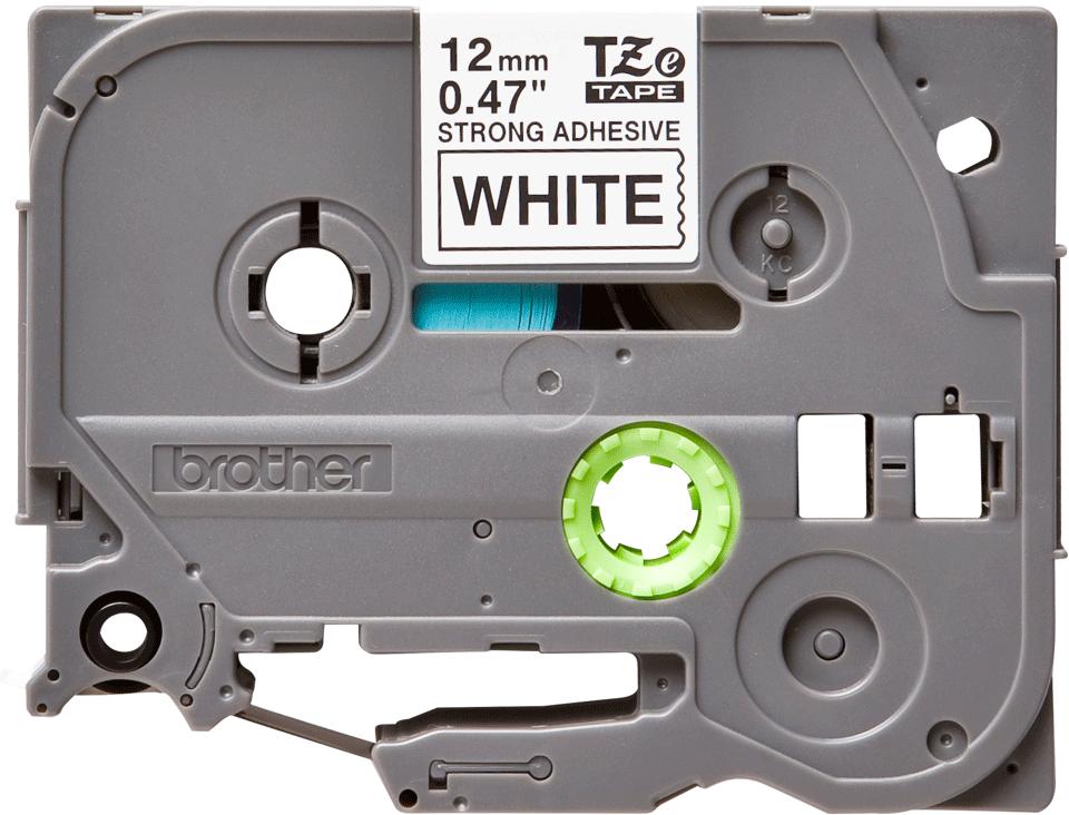 Cassette à ruban pour étiqueteuse TZe-S231 Brother originale – Noir sur blanc, adhésif puissant, 12mm de large