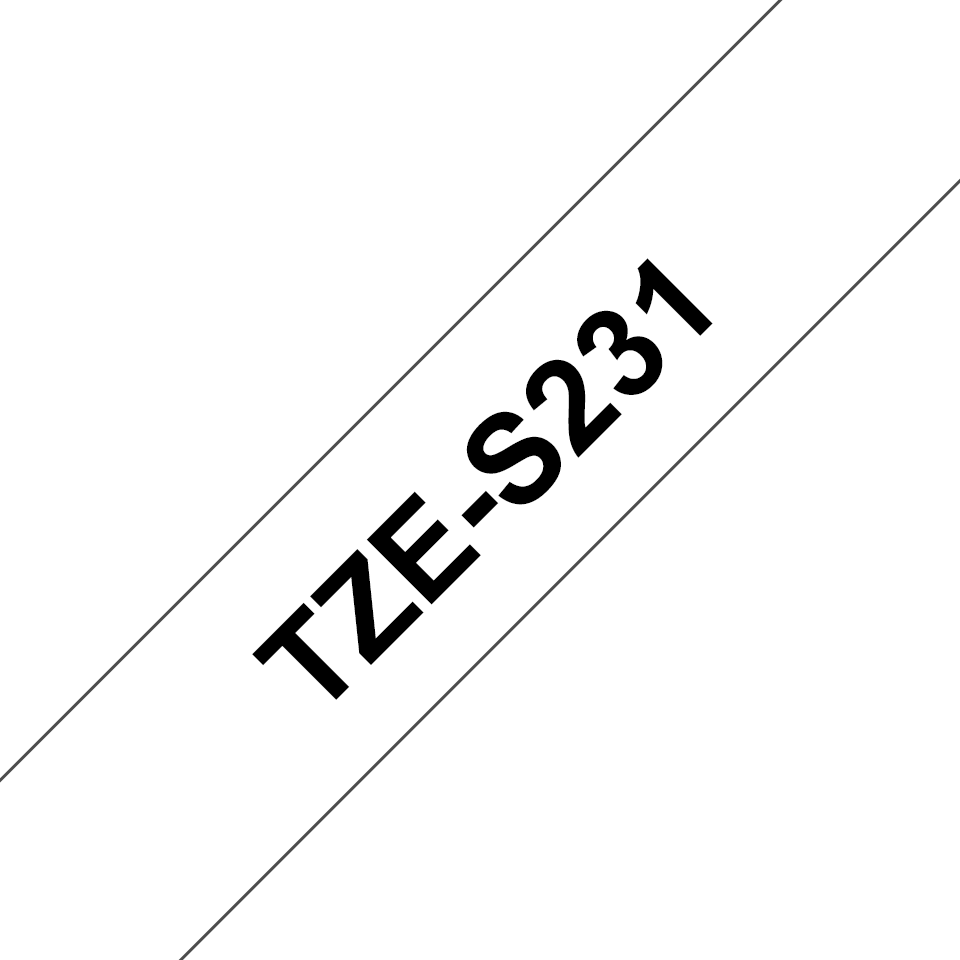 Original TZe-S231 Schriftbandkassette von Brother – Schwarz auf Weiß, extra-stark haftend, 12 mm breit 3