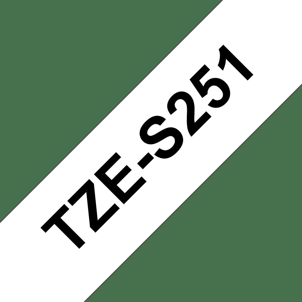 Original TZe-S251 Schriftbandkassette von Brother – Schwarz auf Weiß, 24mm breit  3