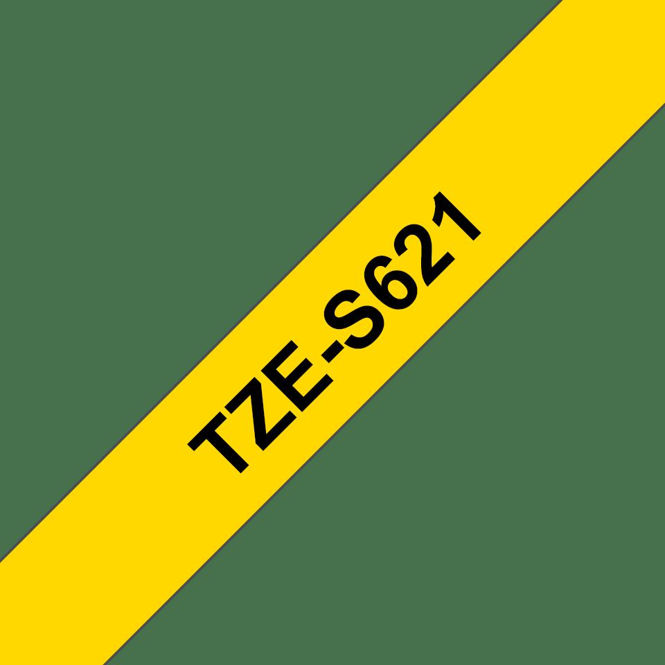 Original TZe-S621 Schriftbandkassette von Brother – Schwarz auf Gelb, 9mm breit